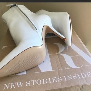 Zara Shoes - Zara White Leather Boots